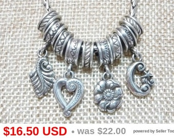 Brighton Inspired Charm Necklace - Live - Laugh - Love - Dream - Leaf, Heart, Flower & Moon Charms - Silvertone Choker Length Necklace