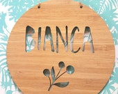 Personalised Wooden Wall / Door Hanging 14cm or 19.5cm-wall hanging-wall art-wooden sign-custom name-kids gift-baby gift-lasercut-plaque
