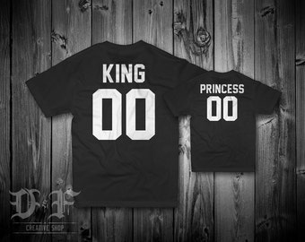 KING & PRINCESS Tee Shirts   Set of 2 T-Shirts   Customizable Shirts for any occasion