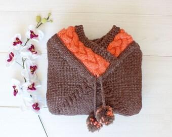 Pompom Cape Coat for Women. Poncho Cloak for Women. Wool Cape. Chunky Yarn Knitwear. Handknit Oversize Coat Cardigan Winter Women's Clothing