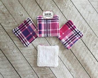 set of 4 purple & pink plaid reusable cotton square, cotton round, facial care, personal care, makeup remover, facial pads, ecofriendly