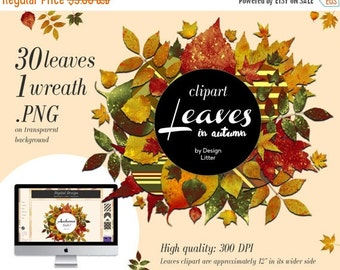 80% Until New Year - Autumn Leaves clipart & fall digital paper + 1 wreath: leaves clip art .PNG for fall scrapbooking and autumn background