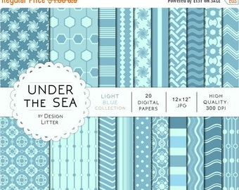 80% Until New Year - Light blue digital papers · light blue marine backgrounds with chevrons beehive and nautical waves for scrapbooking · I