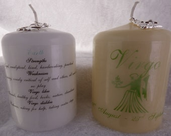 3 Inch - Zodiac Candle with Strengths, Weaknesses, Like & Dislikes - Virgo