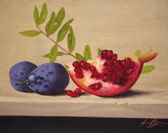 Still Life, Kitchen art, oil Painting, Fruits, Original Handmade art, Classic art, Realism, One of a Kind