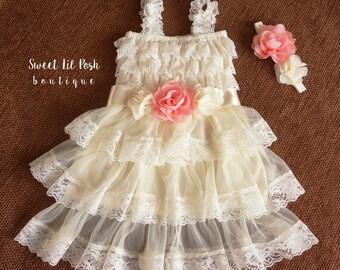 Ivory Flower Girl Dress, Flower Girl Dress, Country Flower Girl, Rustic Lace Dress, Baby Lace Dress, Girl lace Dress,Junior Bridesmaid Dress