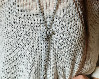 Grey Blue Crystal Hand Beaded Necklace