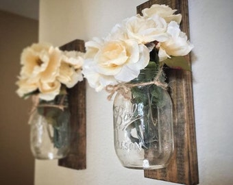 Set Of 2 Mason Jar Lantern, Lantern, Entryway Decor, Wall Scones, Bathroom
