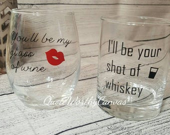 Anniversary Gift- Wedding Gift- Wine Glass and Whiskey- Gift For Him- For Her- Glass of Wine- Shot of Whiskey- Couple's Gift- Christmas gift