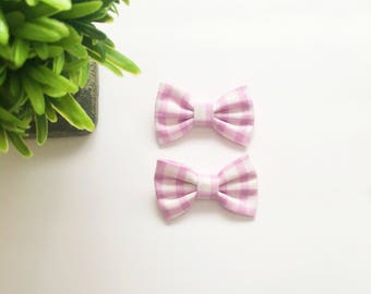 Mini Addi Bows Pink and White Gingham Pigtail bows