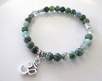 Green moss agate bracelet mala bracelet gemstone bracelet om charm meditation bracelet yoga bracelet healing boho hippie gift.