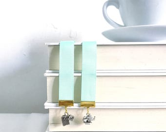 Tea Party Bookmark || Green bookmark || Ribbon bookmark