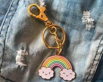 Jumbo Happy Rainbow Bag Charm Keychain