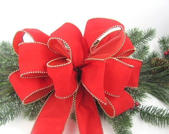 Christmas Wreath Bow - Red Velvet Gold Bead Edging Indoor / Outdoor