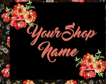 Floral Banner Set, Mini Banner Set, Shop Banner, Graphic Design, Custom Banner, Digital Graphics, Cover Photo, Premade Banner, Banner Design
