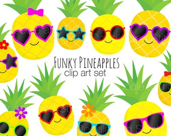 Pineapple Clip Art Pictures, Pineapples in Sunglasses Summer Clipart Set, Fruit Illustrations, Digital Designs
