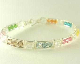 Beaded rainbow silver wire woven bangle bracelet