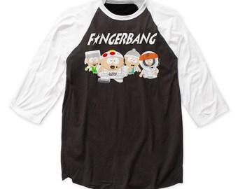South Park Fingerbang Soft 30/1 Men's Cotton Baseball Tee (PARKBJ01) Black/White