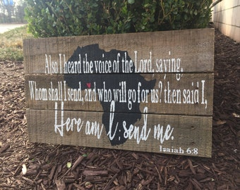 Here am I, Lord, send me wooden sign | rustic farmhouse sign | ministry sign| inspirational missionary sign
