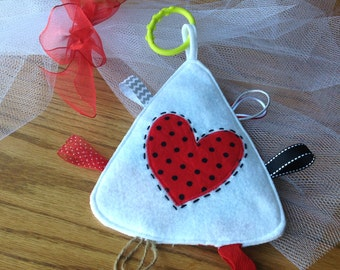 Crinkle Toy - Valentine - Tag Toy - Baby Toy - Baby Shower Gift - Taggie - Football Tag Toy- Holiday Gift