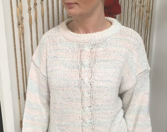 Vintage 80's pastel, rainbow, cableknit sweater ~ unicorn ~ crossroads ~ ombre