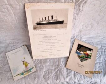 Vintage Cruise Ship Memorabilia, Cunard Line, Aquitania memorabilia, 1920's cruise ships, english ships, ocean cruising