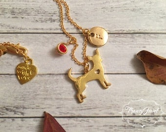 Gold dog necklace, custom initial, personalized birthstone, dog shaped necklace, gold dog charm, dog jewelry, gold plated animal jewelry