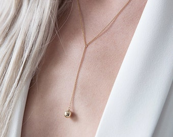 Y Necklace,Y Necklace Drop,Gold Necklace,Gold filled,Gold Ball Drop Necklace