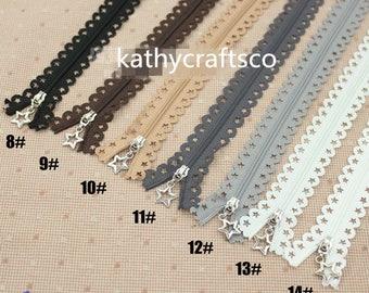 5pcs 25cm Lace Zippers, Scollaped Trim Zippers