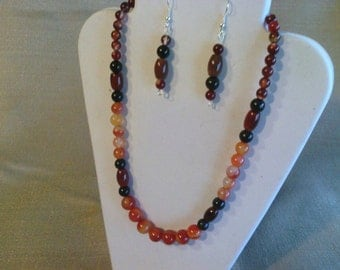 139 Beautiful Agate Necklace with Red, Black, Brown, and Carnelian Red Agate Beads Beaded Necklace