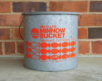 Min-O-Life Galvanized Minnow Bucket - 1970s Vintage - Frabill of Milwaukee WI - Full Floating 10qt Bucket - Vintage Fishing - in VG cond
