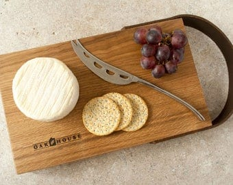 Medium Handmade Solid English Oak Serving Board with leather strap made by Oak House