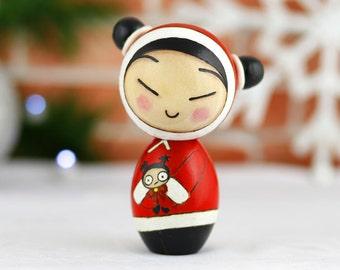 Pucca inspired kokeshi doll. A Christmas Wish.