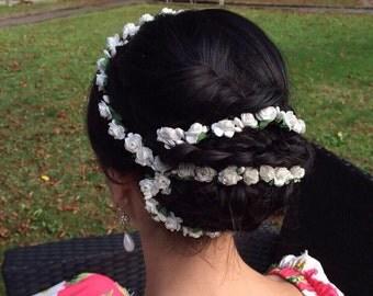 bridal flower crown White wedding Flower crown White flower garland White flower hair garland rose flower headpiece White wedding hair vine