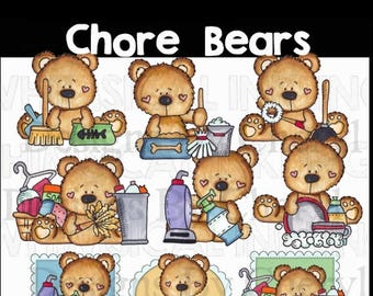Chore Bears for personal and commercial use for planner stickers