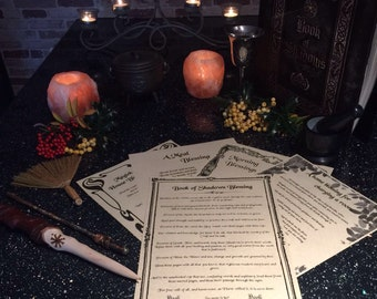 Book of Shadows set,Blessing Spells printed on Parchment,wicca,pagan,witchcraft