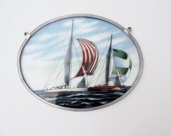 Oval Glassmasters 1981 Sailboat Stain glass Suncatcher