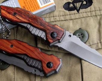 Compact Folding Pocket knife GERBER blade steel 6.5 cm handle serious wood 8.5 cm