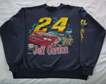 Vintage 90s Jeff Gordon #24 NASCAR crew neck sweatshirt Size XL Spellout DuPont Racing Competitors View