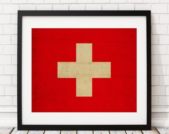 Switzerland Flag Art, Switzerland Flag Print, Flag Poster, Country Flags, Swiss Gifts, Swiss Art, Swiss Flag, Swiss Poster, Painting