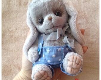 Teddy Bunny grey BOY, soft plush handmade toy   Artist teddy Made to order for you