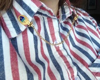 Vintage Collar Clip - Sweater Clip - Sweater Guard - Aquatic / Aquarium/ Colourful Fish