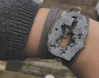 grey + grey suede wrap