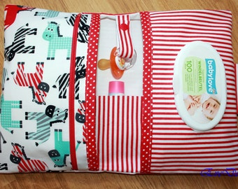 Nappy Wallet ( red, colorful little horses )