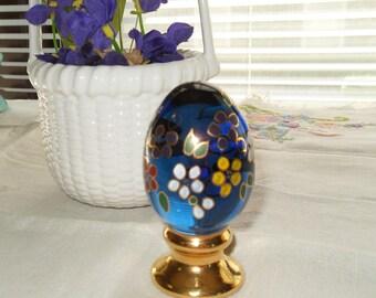 Blue Glass Easter Egg Lefton Hand Painted Signed by JKSpindler