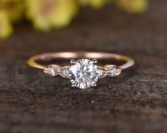 charles colvard moissanite engagement ringbridal ring14k rose gold diamond wedding ring - Ring For Wedding