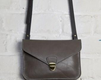 Leather Clutch Bag in Grey
