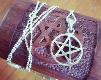 Sterling silver pentacle necklace with wooden pentacle gift box / wiccan / pagan / witchy