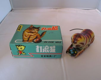 Vintage Tin Wind-Up Toy Cat with Ball in original box