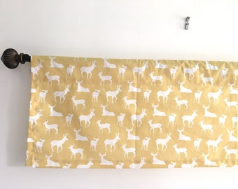 SALE Nursery Decor Animal Print Curtain Baby Room Window Valance Saffron Yellow  Curtains Curtains And White  Yellow And White Curtains